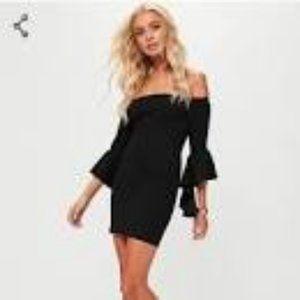 Missguided Petite Black Bardot Frill Sleeve Dress